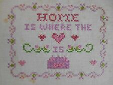 Vintage Home Is Where The Heart / Love Is Cross Stitch Sampler Completed