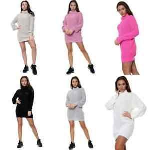 Ladies Women's Fishnet Knitted Polo Roll Neck Long Sleeve Stretch Dress Jumper