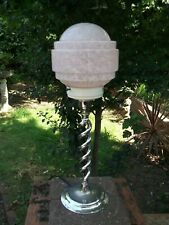 Art deco barley twist chromed table lamp - Marbled/saturn glass lamp shade - WO
