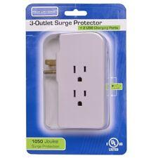 Tech Universe 3-Outlet Surge Protector Plus 2 USB Charging Ports 1050 Joules
