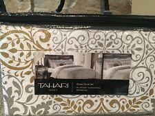 TAHARI Silver Gold Metallic Shimmer White Damask FULL QUEEN 3pc Duvet Cover SET