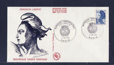 enveloppe 1er jour   Liberté  3,40  bleu  bureau temporaire    Paris   1986