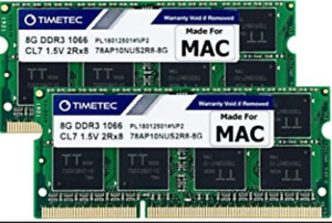 16GB 2x 8GB DDR3 1066 MHz PC3-8500 Sodimm Laptop RAM Memory MacBook Pro Apple