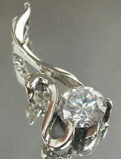 925 STERLING SILVER beautiful SWAN with clear CZ CHARM PENDANT fits Necklace