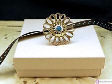 SARA BLAINE Zinnia Ring ~ Sterling Silver Brass Blue Jade  ~ Size 7