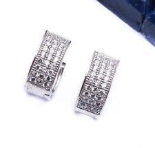HOT! PAVE SET HUGGIE HOOP .925 Sterling Silver Earrings
