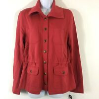 CHAPS Denim Womens Sweater Sz M Coral Jacket Casual Pockets New MSRP $70 KN10