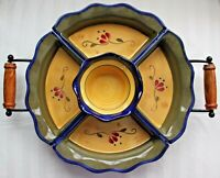 Home and Garden Party Welcome Home Appetizer Cheese Chip Dip Tray Set with Stand