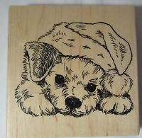 Stampendous W174 2016 PATIENT PUP Christmas Santa Hat on puppy dog Rubber Stamp