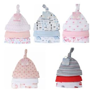 New Baby Knotty Hats 3 Pack Hats Girls Boys Unisex 0-9 m 100% Cotton Soft Touch