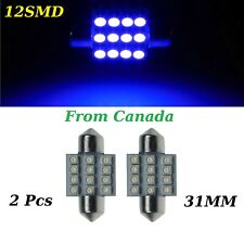 2x 31mm 12SMD Blue LED 3528 DE3175 DE3022 Dome Car Light Lamp Bulb 12V DC