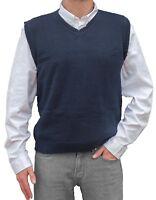 TINKUY PERU 100% Alpaca Wool Mens Knit V-Neck Pullover Coastal Blue Sweater Vest
