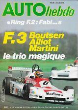AUTO HEBDO 213 . 1° mai 1980 . F3 Boutsen Alliot Martini .