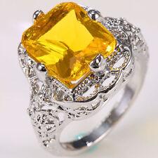 Rare 925 Silver Huge Citrine Gemstone Wedding Propose Ring Women Jewelry Size 7