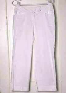 ANN TAYLOR PANTS size 0 classic white stretch cotton mid rise flat front cropped