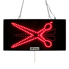 "LED OPEN SIGN - ""SCISSORS IMG"" 10""X20"" size, ON / OFF / FLASHING MODE (#3151)"