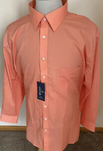NWT Stafford Travel Easy Care Broadcloth Miami Peach Reg Fit Shirt 18 34/35 XXL