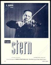 1959 Isaac Stern photo violin recital tour booking trade print ad