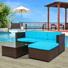 5 Pieces Rattan Wicker Patio Garden Furniture Conversation Set Sofa Chair Table