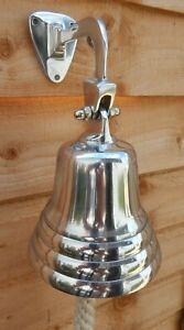 Metal silver hanging door bell Ship Boat bell Pub Rope handle UK seller
