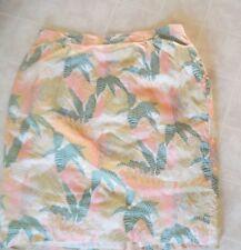 SK & COMPANY Modest Yellow Multi Leaf Prints SILK Skirt sz 24W