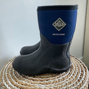 Muck Boots Arctic Sport Kids Size 1 color blue and black Winter Rain Boots