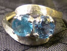 10k White Gold Round Cut GEMSTONE Ring 10 Blue Topaz