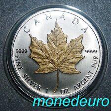 CANADA 2011 1 DOLAR 1 ONZA PLATA PURA .999  MAPLE LEAF DETALLE EN ORO