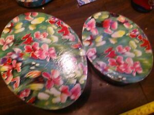 "⭐️2 Hawaiian Floral Nesting Vanity Treasure Make up Jewelry 9"" Shaker Containers"