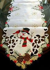 """Vintage Christmas Table Runner Snowman Cardinal Snowflake Embroidered 68"""" L"""