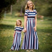 Girl Stripe Mother Daughter Long Dress Children's Wear Family Matching Clothes