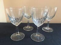 "SET OF 4 Cristal d'Arques-Durand DIAMANT 5-3/4"" Claret Wine Glasses; EUC!"