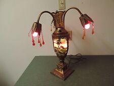 Antique Reverse Painted  Table lamp  Art Deco Vintage Ornate Flower Vase
