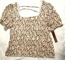 Almost Famous Top Shirt 1X Cream Pink Floral Short Sleeve Nwt
