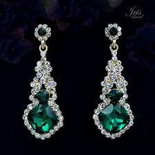 Cute 18K Gold Plated GP Green Crystal Rhinestone Drop Dangle Earrings 00389 New