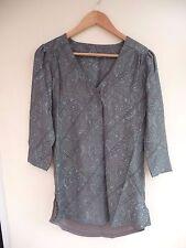 BNWT (£28) NEXT GreyBlue Floral Print Linen Blend Longline Top  Size 10