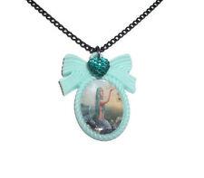 Mermaid Cameo Necklace, Mint Green Kitsch Cute Fantasy Jewellery