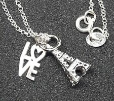 """EIffel Tower and Love Charm Necklace 925 Sterling Silver Pendent and 16"""" Chain."""