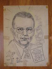vintage original pencil DRAWING of Wilfrid Pelletier by Auger political cartoon