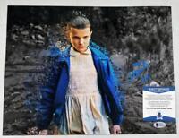 "MILLIE BOBBY BROWN ""11"" SIGNED 11X14 METALLIC PHOTO STRANGER THINGS BAS COA 921"
