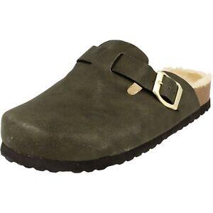 Supersoft Damen Schuhe 276-187 warm gefütterte Clogs Hausschuhe Grün NEU