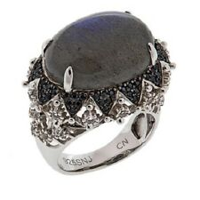 Colleen Lopez Labradorite, Black Spinel And White Topaz Ring Size 9 Hsn S/O $160