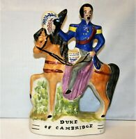 Antique Staffordshire Sculpture Duke Of Cambridge Hand Painted One Sided Figure