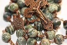 Large 10mm Green Zebra Jasper Rosary in Copper Made Oklahoma with Pardon Crucifi