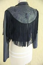 Vtg Black Leather Jacket Coat Southwestern Country Western Boho Fringe Beaded