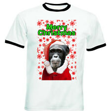 Monkey merry Christmas snowflakes - RINGER COTTON TSHIRT