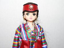 Takara Jenny Japan anime Licca doll kimono red gown pearl earrings unmarked
