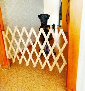 Folding Pet Safety Gate Bamboo Retractable Cat Dog Sliding Door Safety Fence