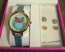 Betsey Johnson Watch & Earrings Set, Blue Owl Crystals + Stud Earrings Gold NIB