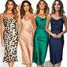 UK Womens Satin Silk Bodycon Midi Dress Strappy Casual Evening Party Cocktail